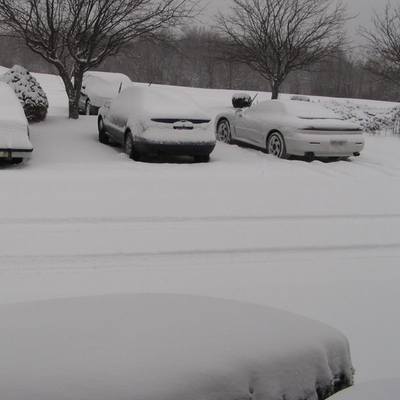 snow parking lot